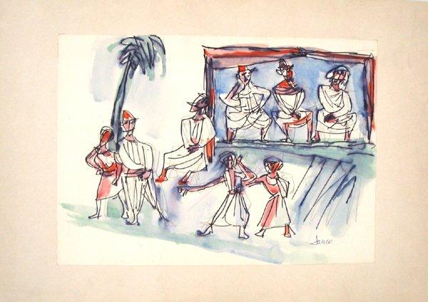 3501: Marcel Janco Original Watercolor Painting