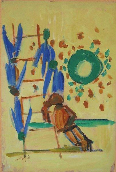 3502: Pincas Litvinovsky oil on paper painting