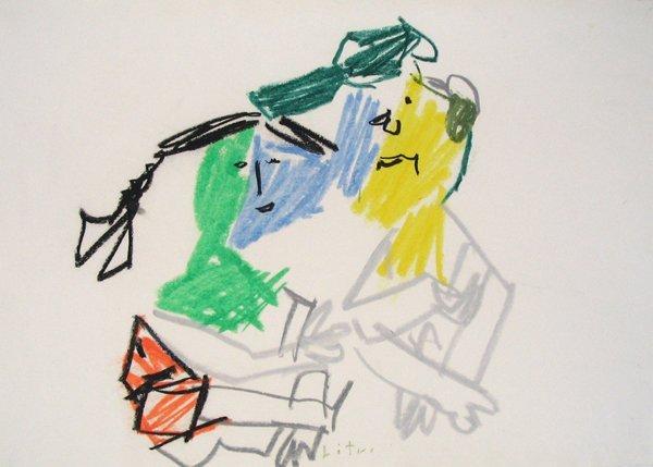 3522: Pincas Litvinovsky Original Pastel Drawing