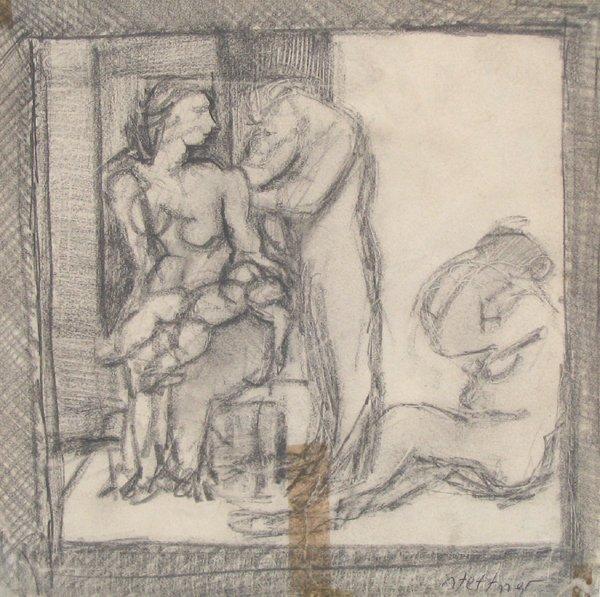 4507: Uri Stettner Original Pencil Drawing Israeli Art