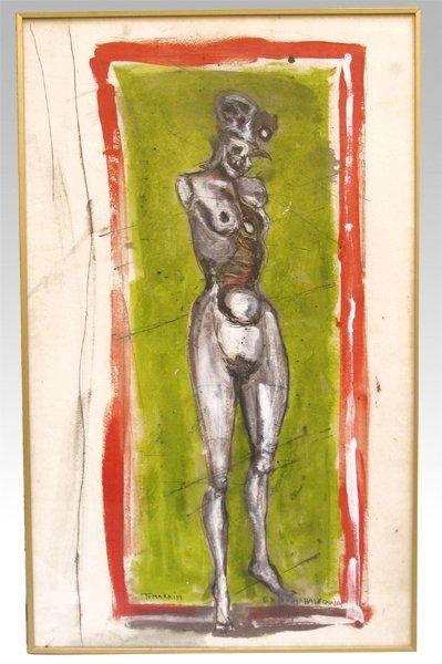 4510: Igael Tumarkin Original Mixed Media Painting