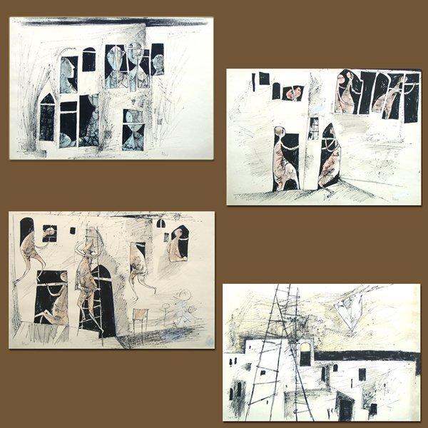 4516: Y.Bergner Signed& No. Hand-Colored Portfolio