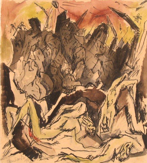 4519: J. Steinhardt Original Watercolor Drawing Jewish