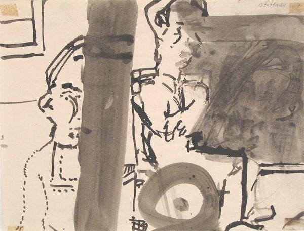 4522: Uri Stettner Original Watercolor Drawing Israeli