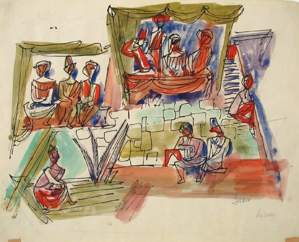 4523: Marcel Janco Original Watercolor Painting