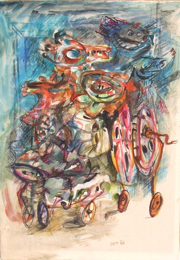 4544: Yosl Bergner Original Watercolor and Pencil Drawi