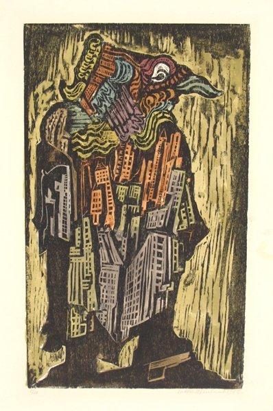 2720: Jacob Steinhardt Original Signed Woodcut Judaica