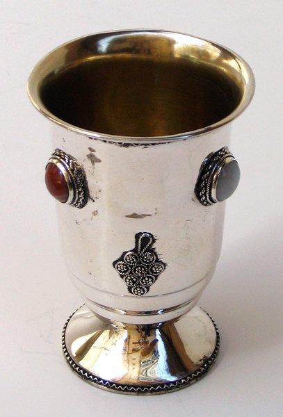 2306: Kiddush Cup Sterling Silver, Judaica Bezalel Era