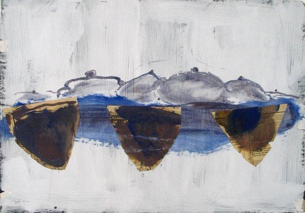 2316: Y. Ozeri Original Mixed media painting on paper