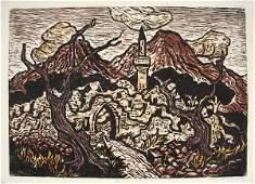 2333: J. Steinhardt Original Signed Woodcut Jewish Art