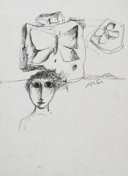 2339: Y. Bergner Original Ink Drawing Late 1960s
