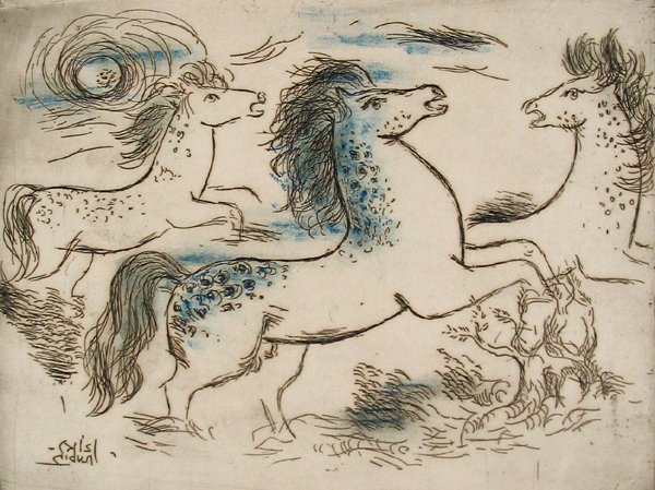 3308: Reuven Rubin Original Signed No. Color Etching