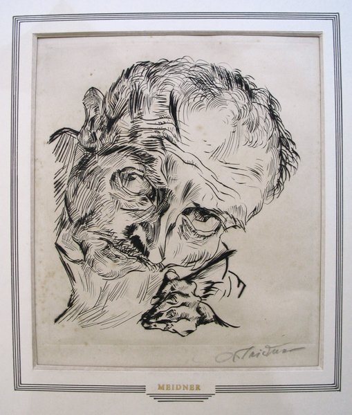3319: L. Meidner Original signed Etching. German Art