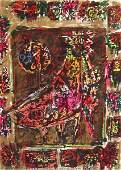 3352: M. Tamir Original Watercolor painting Israeli Art
