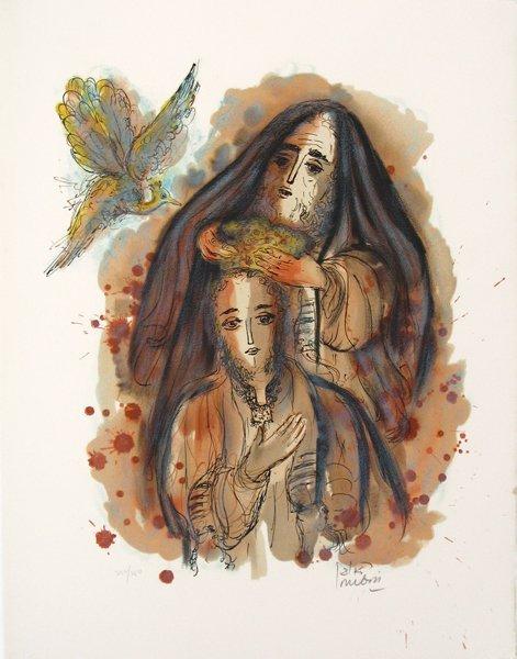 4316: R. Rubin Original Lithograph David and Solomon