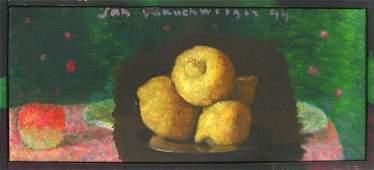 4407: Jan Rauchwerger, Original Oil on Canvas, Israeli