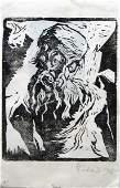 543: Jacob Steinhardt, Rare Signed WOODCUT Jewish Art