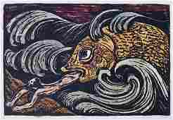 545: Jacob Steinhardt, Rare HAND-COLORED Woodcut Jewish