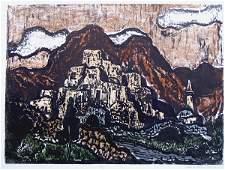 615: J.Steinhardt RARE Hand-colored Woodcut Jewish art