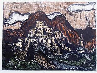J.Steinhardt RARE Hand-colored Woodcut Jewish art