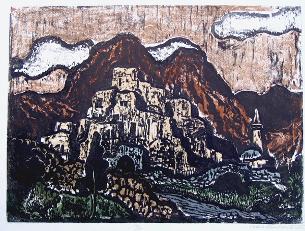 615: J.Steinhardt RARE Hand-colored Woodcut Jewish art