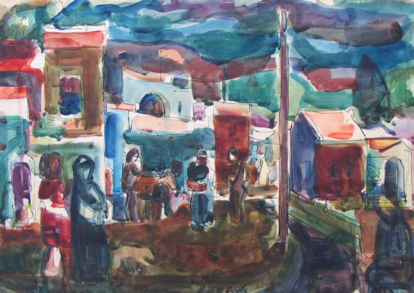 621: Aharon Giladi Original WATERCOLOR Israeli Art
