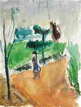 Jacob Haber Original Watercolor ISRAELI ART