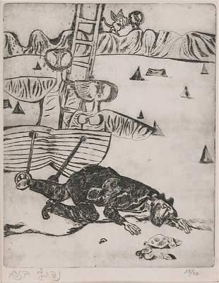 Naftali Bezem Original ETCHING Israeli Jewish Art