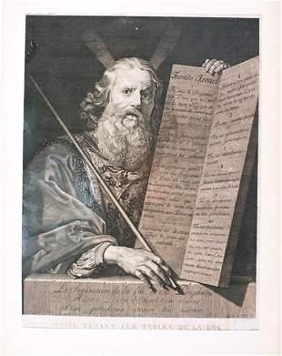 Antique ENGRAVING - Religious Art - Moses