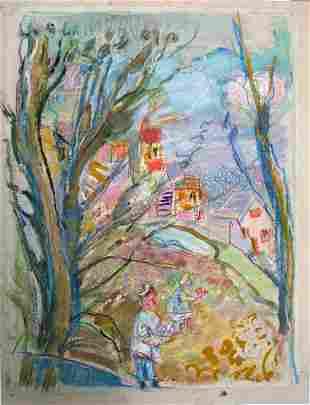 Michel Kikoine Original Pastel Painting French