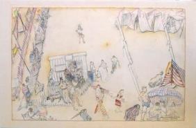 8015: Moreno Pincas Original DRAWING Israeli Art
