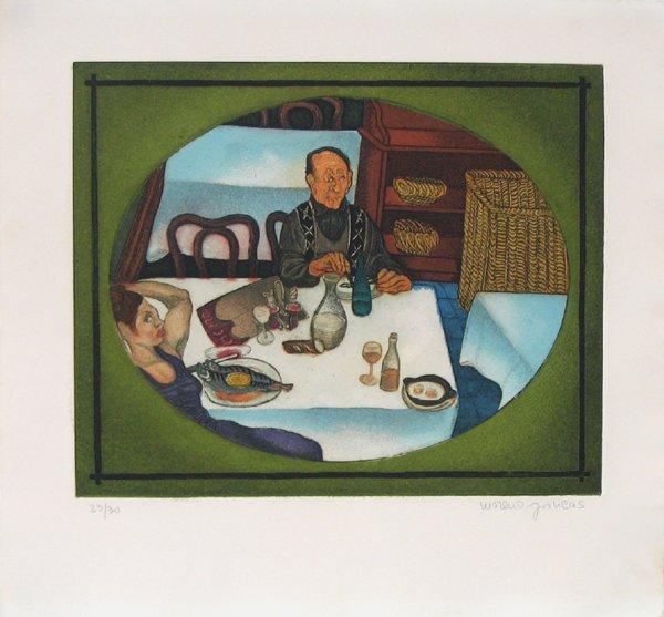 8021: Moreno Pincas Original S&N ETCHING  Israeli Art