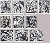 8105: Reuven Rubin 10 WOODCUTS Portfolio BIBLICAL ART