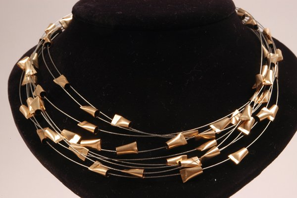 9004: Steel Cables,Goldfield Necklace - by S.Kirstain