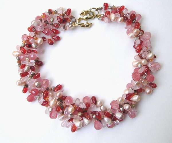 9006: 3-Strings Necklace of Semi Precious by M. Maisler