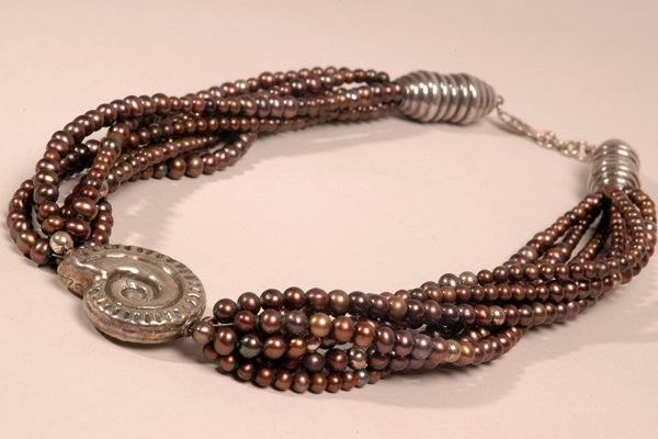 9013: Bronze Pearl Necklace - by Shaily Kirstain