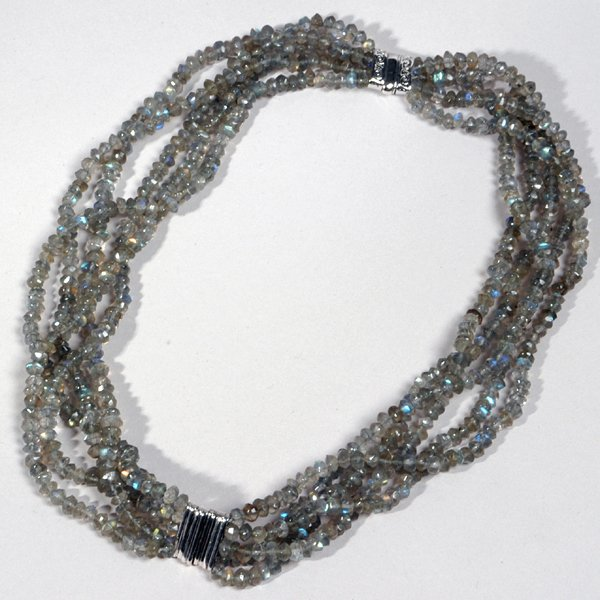 9014: Labradorit stones Necklace - by Shaily Kirstain