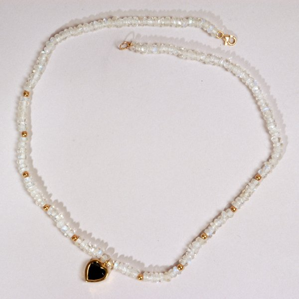 9021: Moon Stone Beads Necklace - by Shaily Kirstain