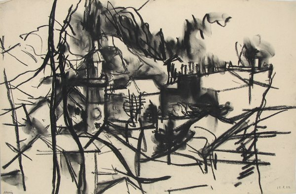 1007:Avigdor Arikha Original Charcoal on paper Painting