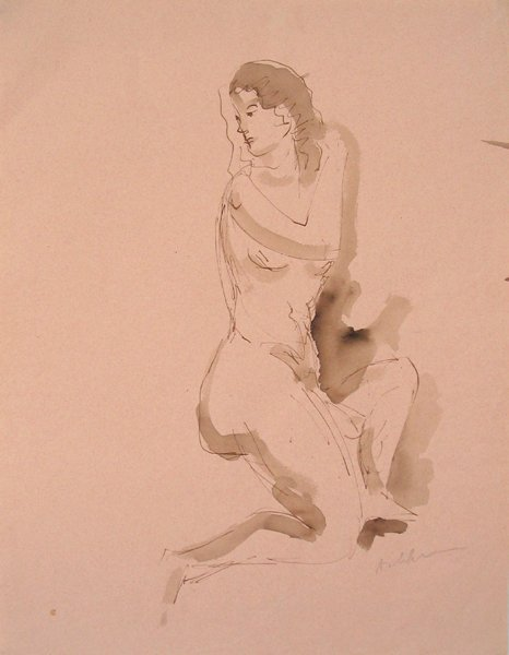 1008: Isidor Ascheim Original Watercolor Drawing Israel