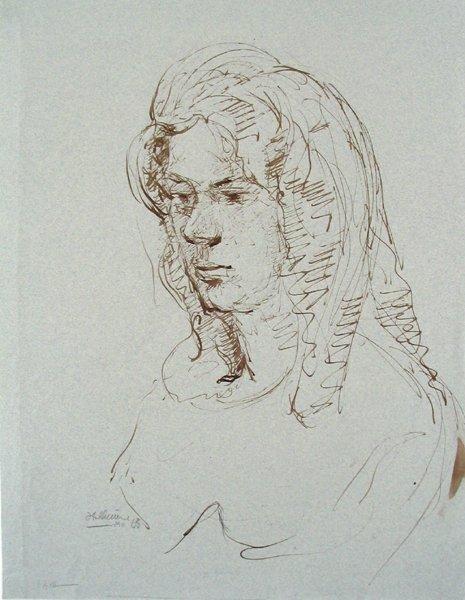 1009: Isidor Ascheim Original Ink Drawing Israeli Art
