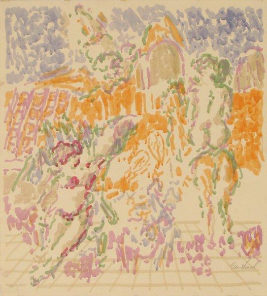 1012: David Ben-Shaul Original Gouache Drawing Israeli