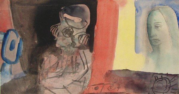 2007: Uri Stettner Original Watercolor Drawing Israeli