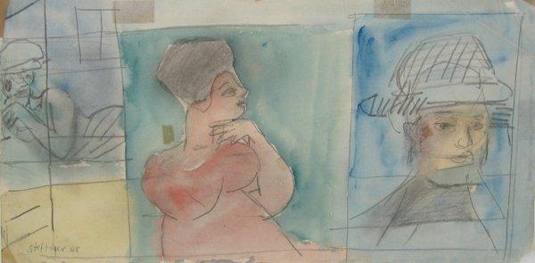 2008: Uri Stettner Original Watercolor Drawing Israeli