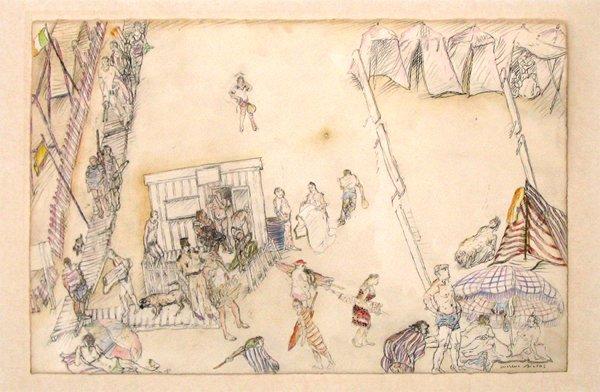 2018: Moreno Pincas Original Pastel and Pencil Painting