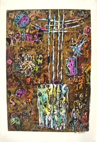 2103: Moshe Tamir Original Ink Painting Israeli Art