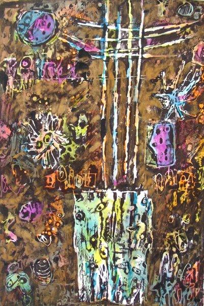 2103: Moshe Tamir Original Ink Painting Israeli Art - 2