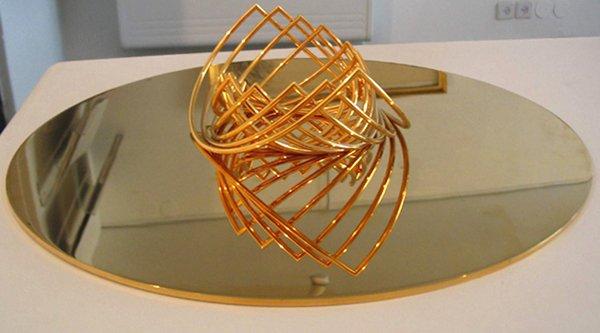 2118: Yaacov Agam Original Gold Plated Kinetic Sculptur