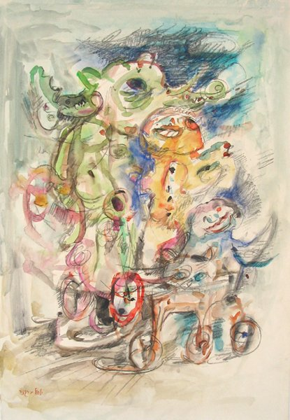 3002: Yosl Bergner Original Watercolor Pastel Painting