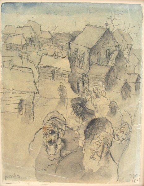 3005: J. Steinhardt Original Charcoal Painting Jewish